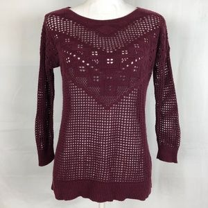 American Eagle Outfitters Crochet Knit Sweater S